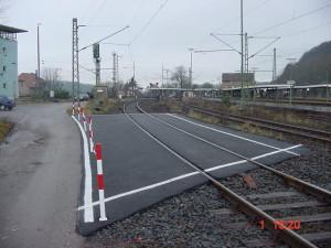 Die Eingleisstelle im Bahnhof Altenbeken für Realeinsätze. Die Anfahrt kann über die Alte Bahnhofsstraße erfolgen.