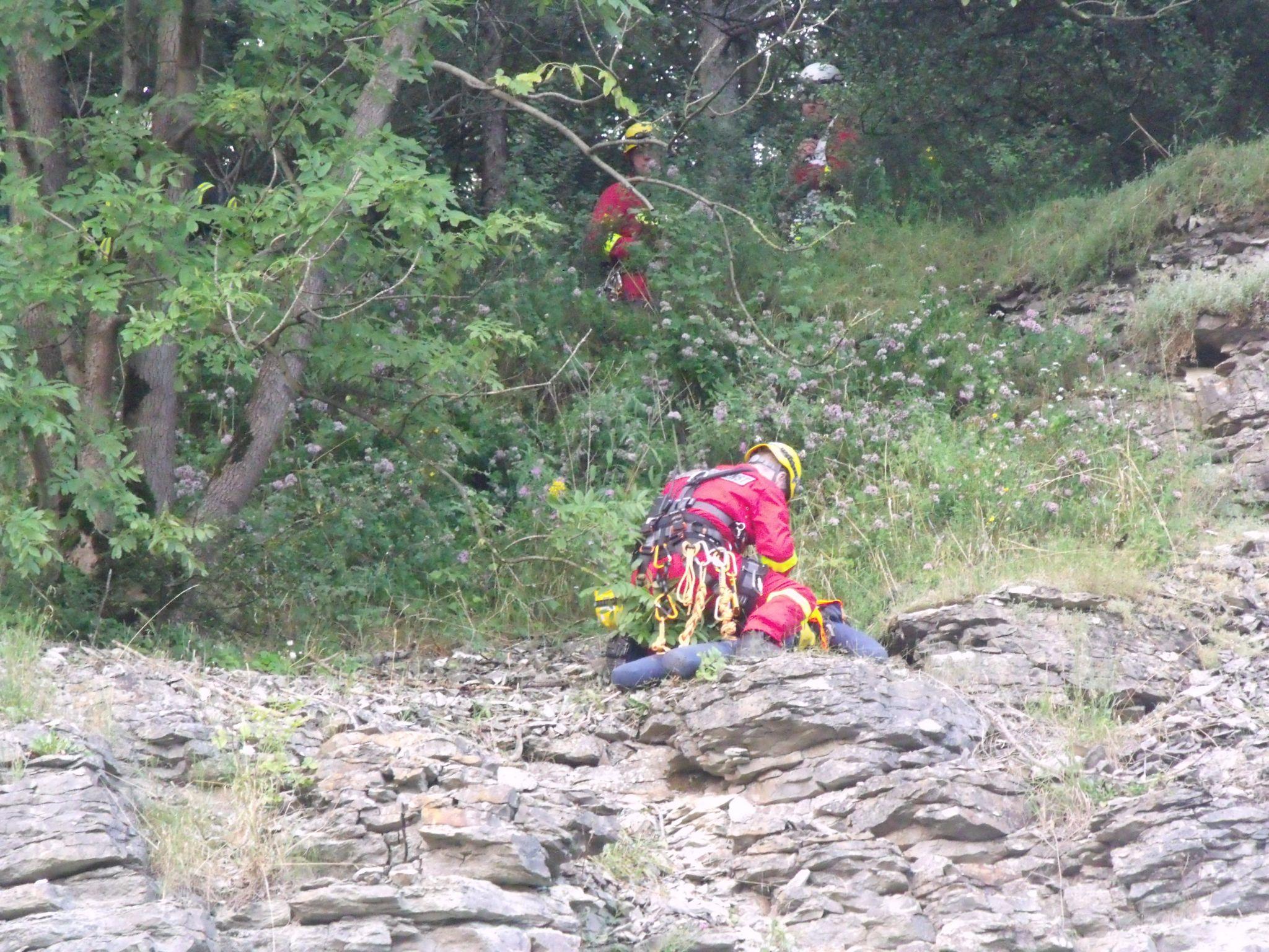 Abgestürzter Geocacher im Steinbruch